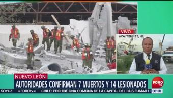 Confirman 7 muertos y 14 heridos por derrumbe en Monterrey