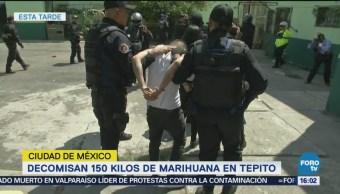 Decomisan 150 kilos de marihuana en Tepito