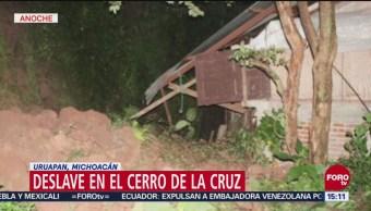 Deslave en el Cerro de la Cruz en Uruapan, Michoacán