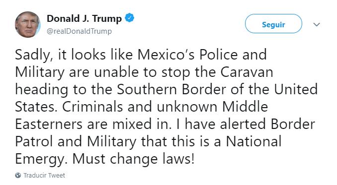 Donald Trump tuitea sobre la caravana migrante. (@realDonaldTrump)