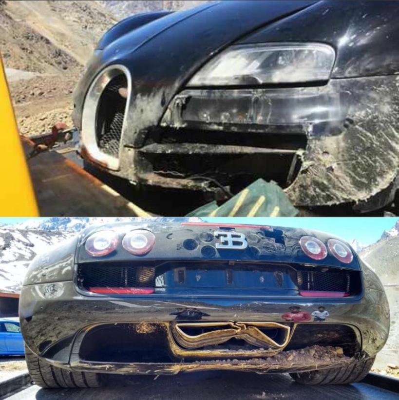 El vehículo sufrió daños en los difusores anteriores y posteriores, así como en las terminales de tubos de escape (Carbuzz)