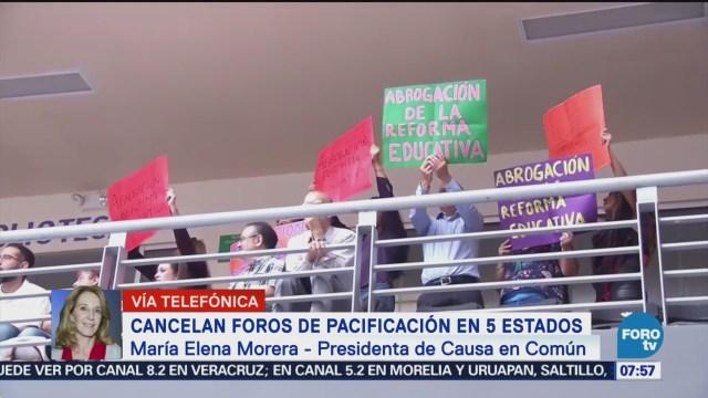 Elena Morera Cancelación de foros de pacificación