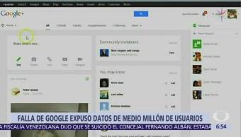 Falla de Google expone datos de medio millón de usuarios