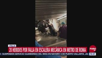 Falla escalera mecánica en Metro de Roma, Italia