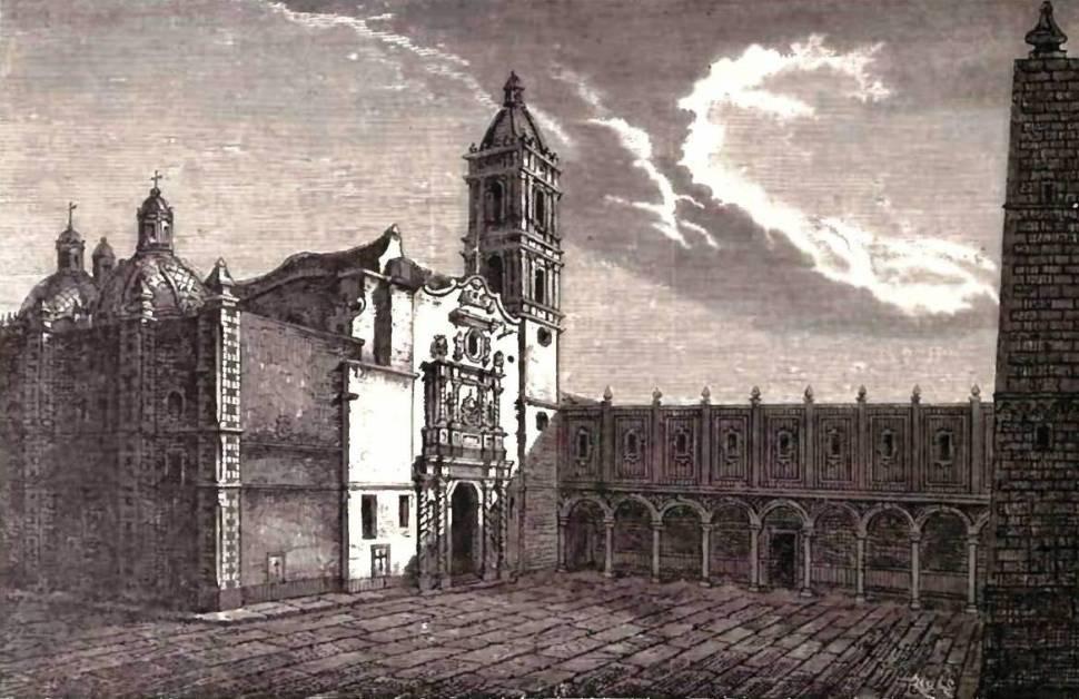 Grabado que proyecta la fachada del Colegio de Santa Cruz de Tlatelolco