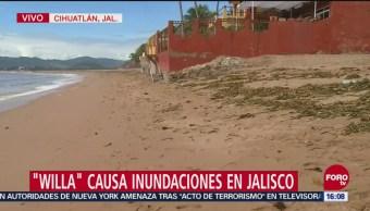 Huracán Willa causa inundaciones en Jalisco
