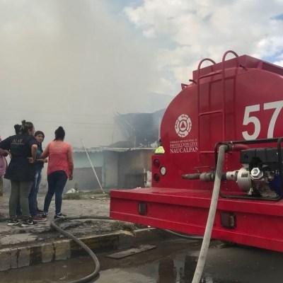Controlan incendio frente a rastro municipal de Naucalpan
