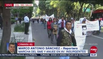 Integrantes del SME marchan sobre Insurgentes, CDMX