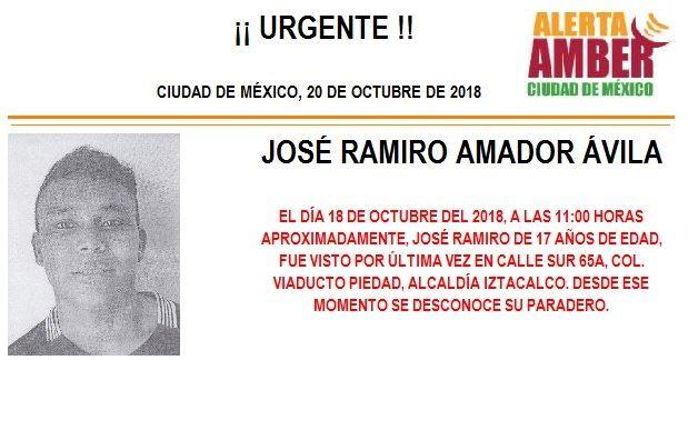 Alerta Amber: Piden ayuda para localizar a José Amador