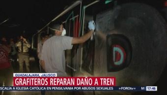 Jalisco pone a grafiteros a limpiar pintas