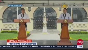 Presidentes Guatemala Honduras Ofrecen Mensaje A Medios Jimmy Morales Juan Orlando Hernández Caravana De Migrantes