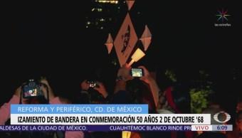 Izan bandera en Reforma y Periférico por el 2 de octubre