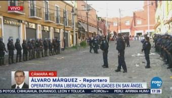 Liberan vialidades en inmediaciones del mercado de San Ángel