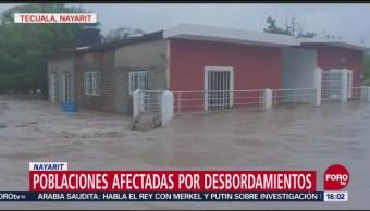 Los ríos Acaponeta y San Pedro desbordaron en Nayarit