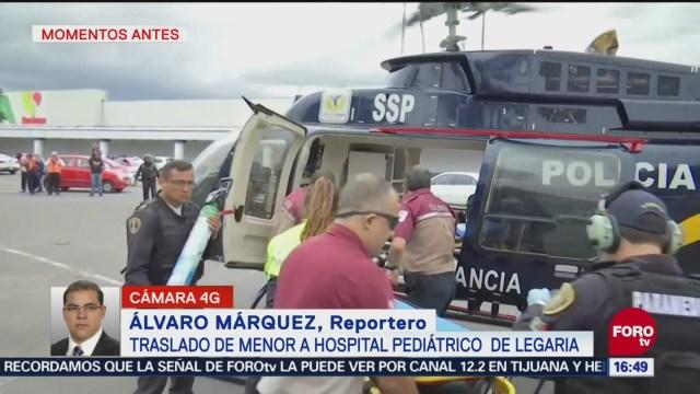 Menor con traumatismo craneoencefálico es trasladado en helicóptero