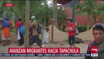 de la caravana migrante se establecieron en plazas públicas en Tapachula, Chiapas, al negarse ir a los albergues