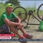 Migrante hondureño intenta llegar a EU en bicicleta