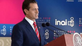 Peña Nieto inaugura la Semana Nacional de la Transparencia