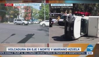 Reportan volcadura en Santa María la Ribera; hay tres lesion
