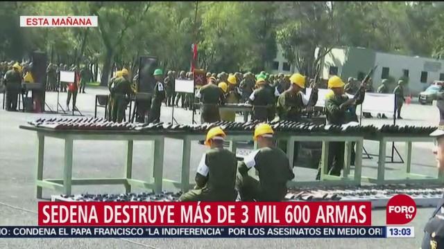 Sedena destruye más de 3 mil 600 armas