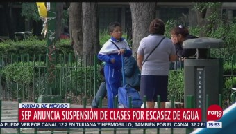 SEP anuncia suspensión de clases por escasez de agua en CDMX