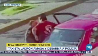 Taxista de la CDMX desarma y amaga a policía del Estado de México