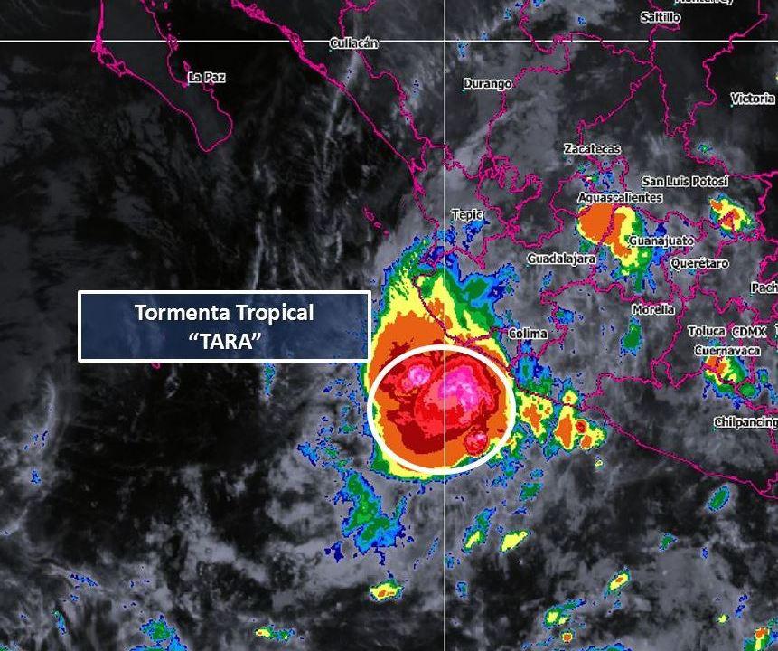tormenta tropical 'Tara' frente a costas de Colima y Michoacán