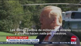 El presidente Donald Trump acusa ineficacia de México para detener la caravana migrante; cuestiona lo que ocurre para no controlar el acceso de los migrantes
