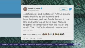 Trump afirma que USMCA resuelve muchos errores del TLCAN