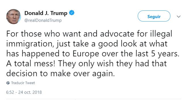 Trump alude a la migración hacia Europa. (@realDonaldTrump)
