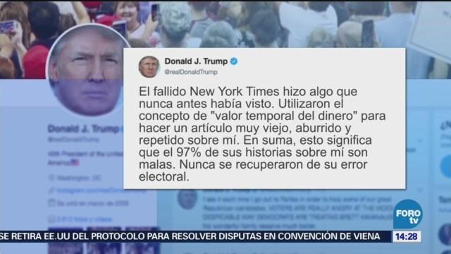 Trump niega evasión de impuestos acusada por New York Times