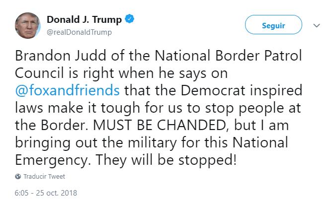 Trump tuitea nuevamente sobre la caravana migrante. (@realDonaldTrump)