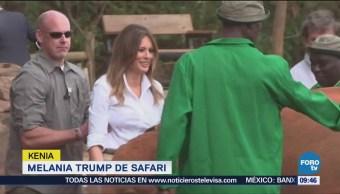 Un elefante empuja a Melania Trump