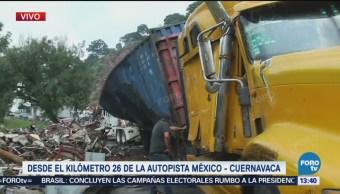 Vuelca Un Tráiler México-Cuernavaca Volcadura Autopista Ciudad De México