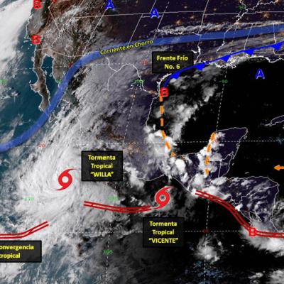 'Vicente' y 'Willa' provocan tormentas fuertes en ocho estados