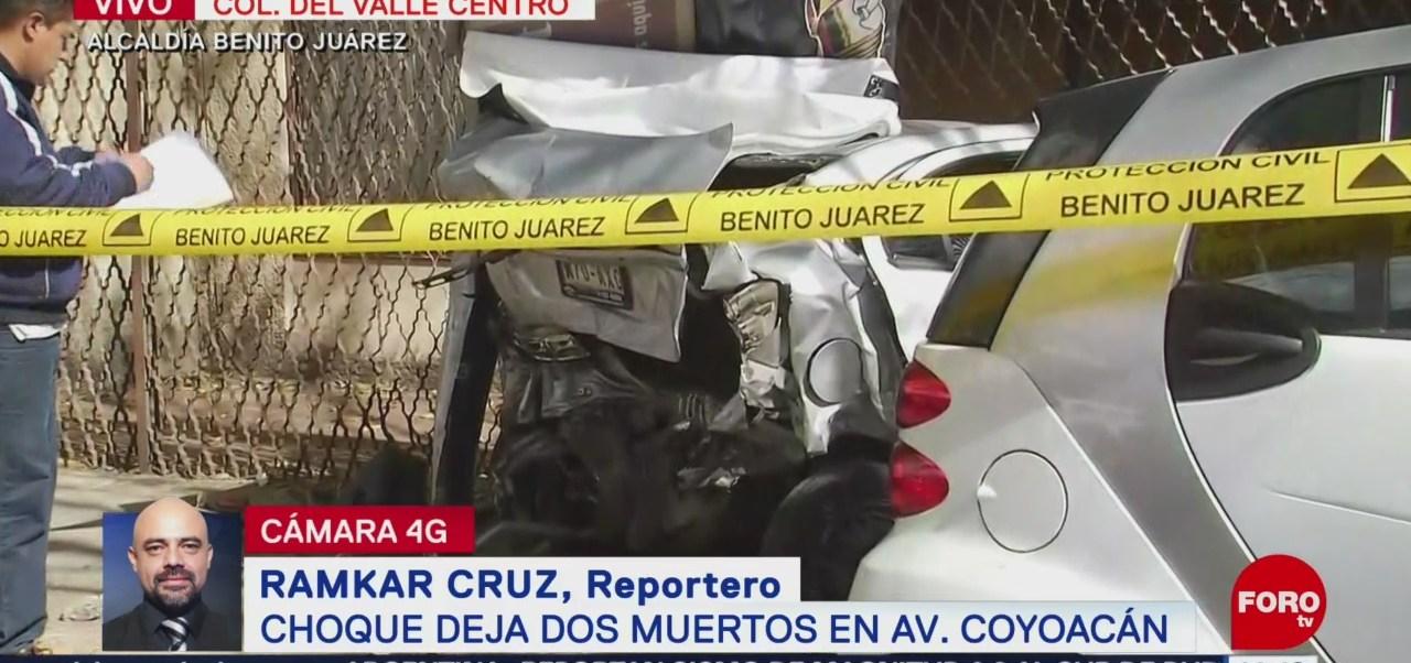 Accidente deja dos muertos y dos lesionados en avenida Coyoacán