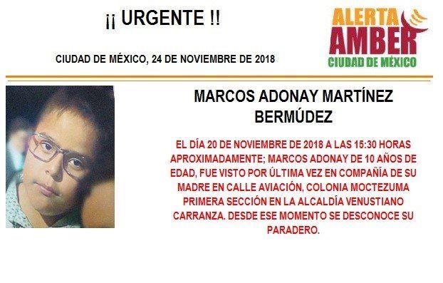 Alerta Amber: Piden ayuda para localizar a Marcos Adonay