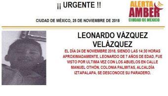 Alerta Amber: piden ayuda para localizar a Leonardo Vázquez