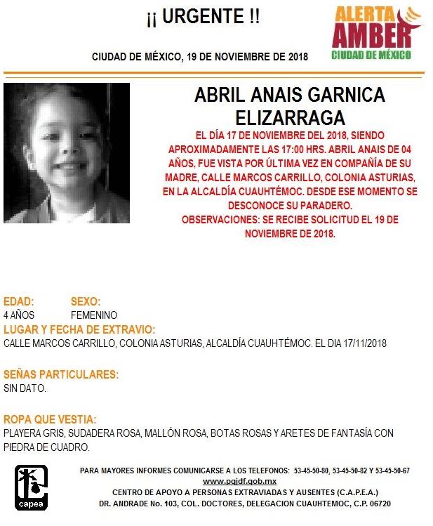 Alerta Amber para localizar a Abril Anais Garnica Elizarraga