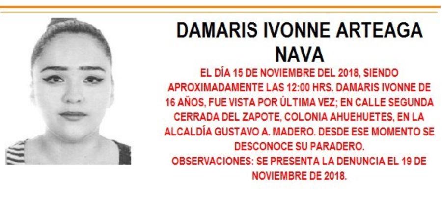 Alerta Amber para localizar a Damaris Ivonne Arteaga Nava