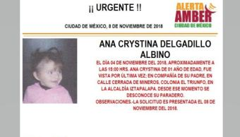 Alerta Amber para localizar a Ana Crystina Delgadillo Albino