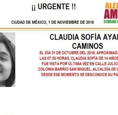 Alerta Amber: Ayuda a localizar a Claudia Sofía Ayala Caminos