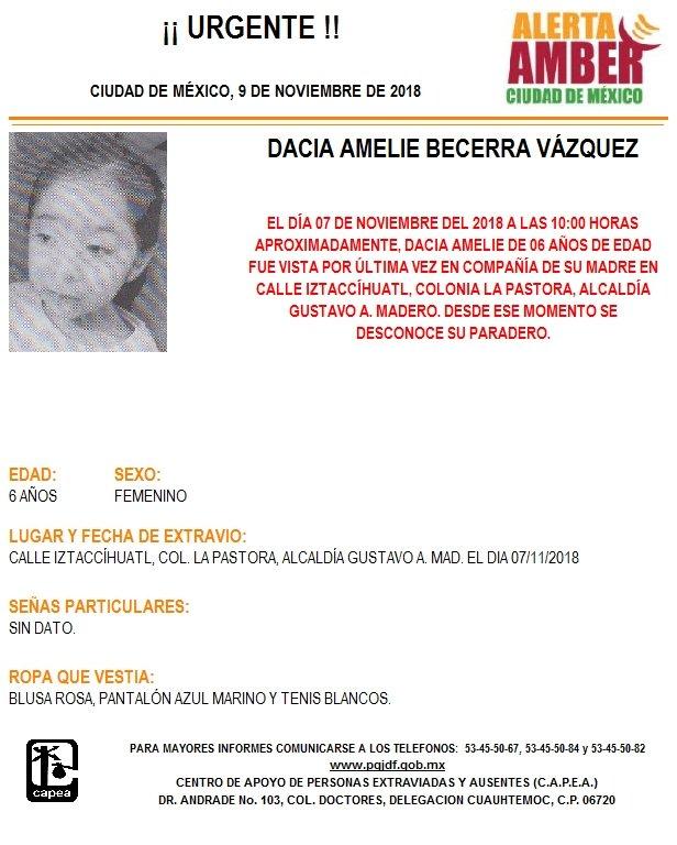 Alerta Amber para localizar a Dacia Amelie Becerra