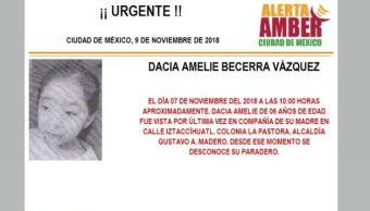 Alerta Amber para localizar a Dacia Amelie Becerra Vázquez