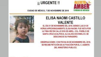 Alerta Amber para localizar a Elisa Naomi Castillo Valente