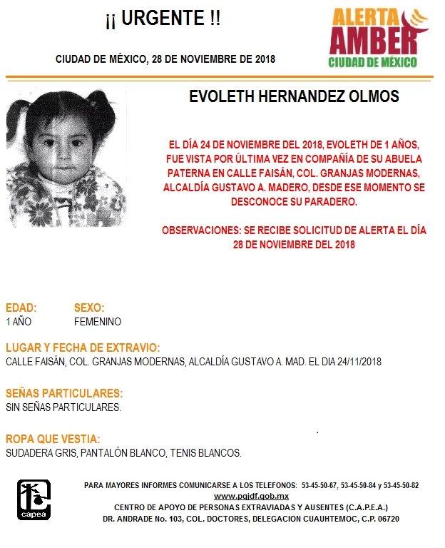 Alerta Amber para localizar a Evoleth Hernández Olmos