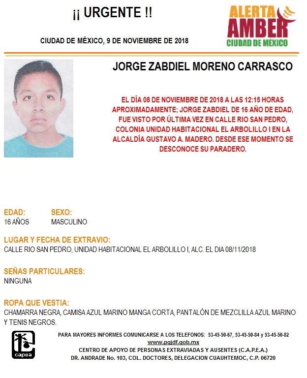 Alerta Amber para localizar a Jorge Zabdiel Moreno
