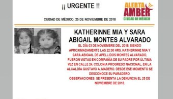 Alerta Amber para localizar a Katherinne Mia y Sara Abigail