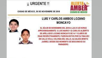 Alerta Amber para localizar a Luis y Carlos Lozano Moncayo