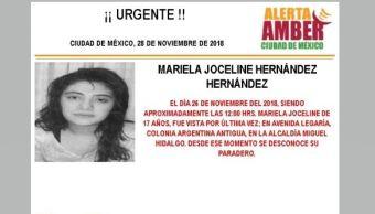 Alerta Amber para localizar a Mariela Joceline Hernández